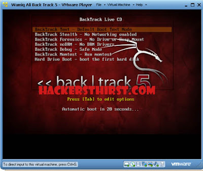 Backtrack 5 virtual boot menu