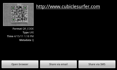 QR Code - HTC G2 Android screenshot
