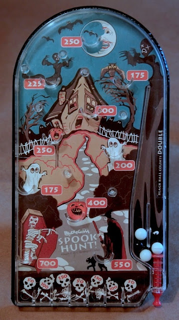 Spook Hunt by Bindelgrim is a one-of-kind original Halloween art piece with retro-fit bagatelle pinball game