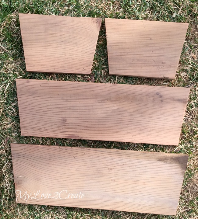ends and sides cut to build a tapered crate