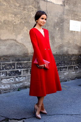Miroslava Duma Style Red Coat Dress