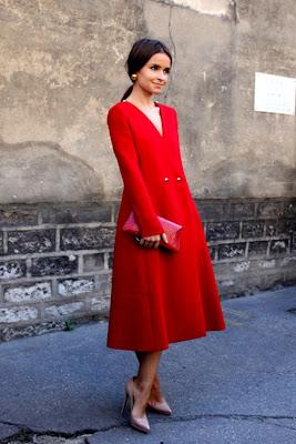 Miroslava Duma Style Red Coat Dress