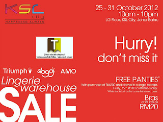 Triumph Sloggi AMO Lingerie Warehouse Sale 2012 KSL City