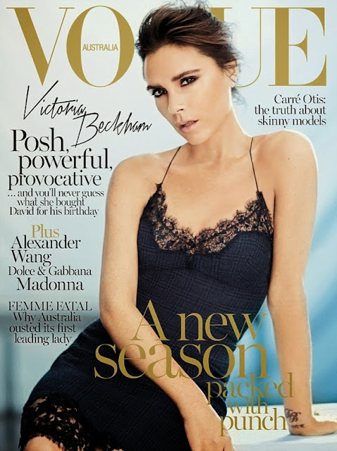 Victoria Beckham wearing wool silk tartan and lace dress by Louis Vuitton on the cover of Vogue