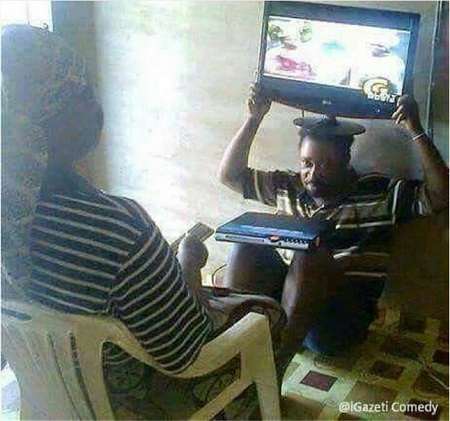 This Picture Has Been Making Rounds On The Social Media And Reports Have It That The Husband Under Punishment Allegedly Cheated On His Wife Who Happens To