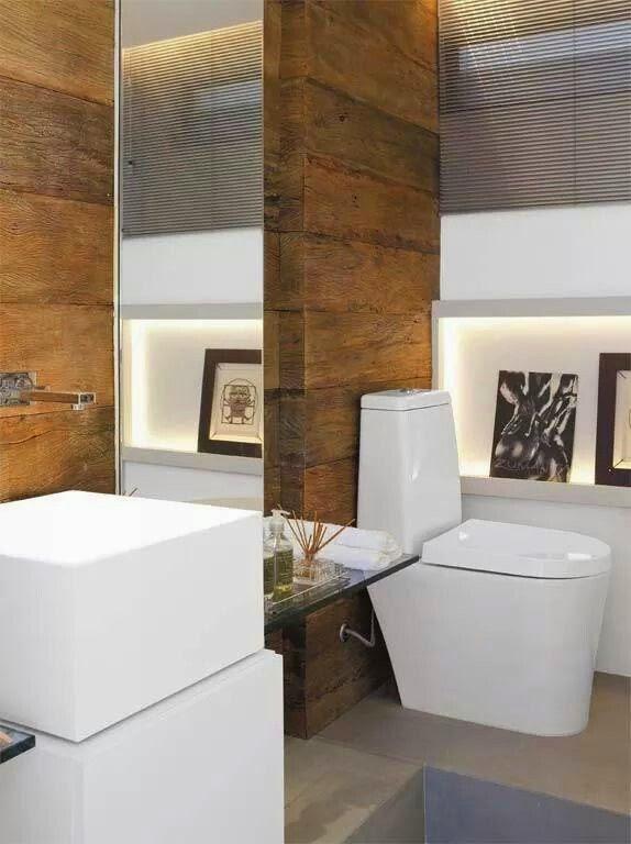 12 Banheiros e lavabos com porcelanato que imita madeira!!  Jeito de Casa   -> Cuba Para Banheiro De Madeira