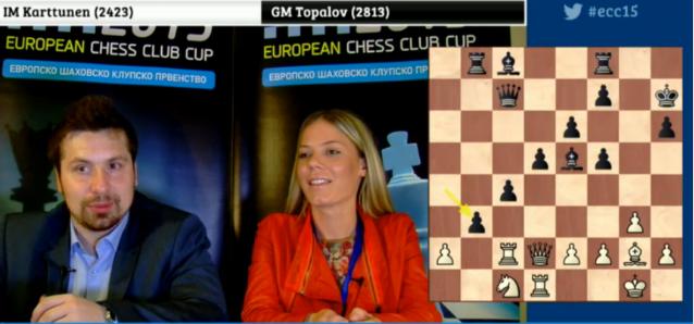 La maître internationale d'échecs Sandra Djukic et le grand-maître Borki Predojevic commentent les parties en direct Live