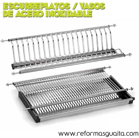 Escurreplatos y vasos en acero inoxidable para la cocina reformas guaita - Escurreplatos acero inoxidable ...