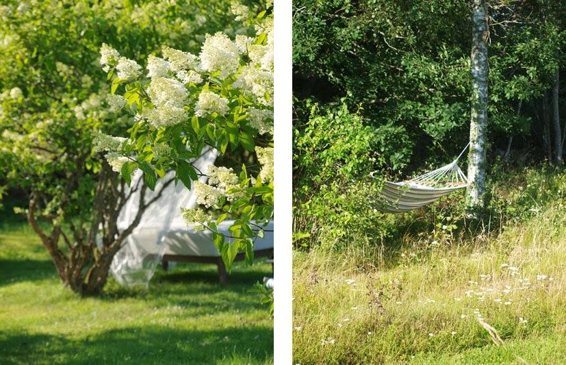 Udeseng med myggenet og hvid hængekøje i birketræ