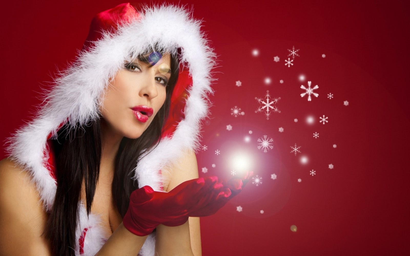 Christmas Girls Santa Claus Girls  - Beautiful Christmas Girl Desktop Background Hd