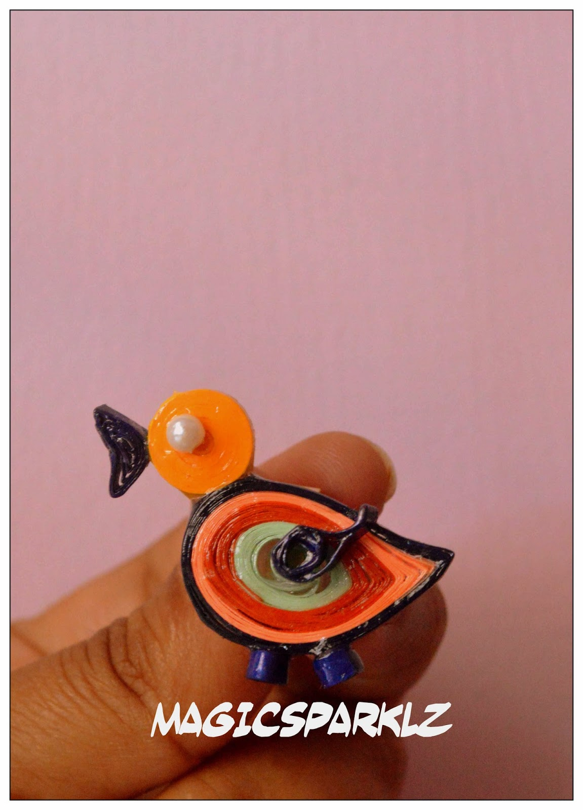 Quilled bird pendant for kids