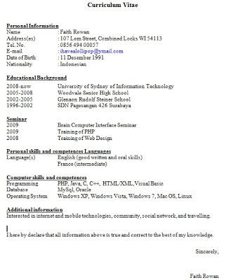 di sini ya untuk Contoh CV Curriculum Vitae | Daftar Riwayat Hidup