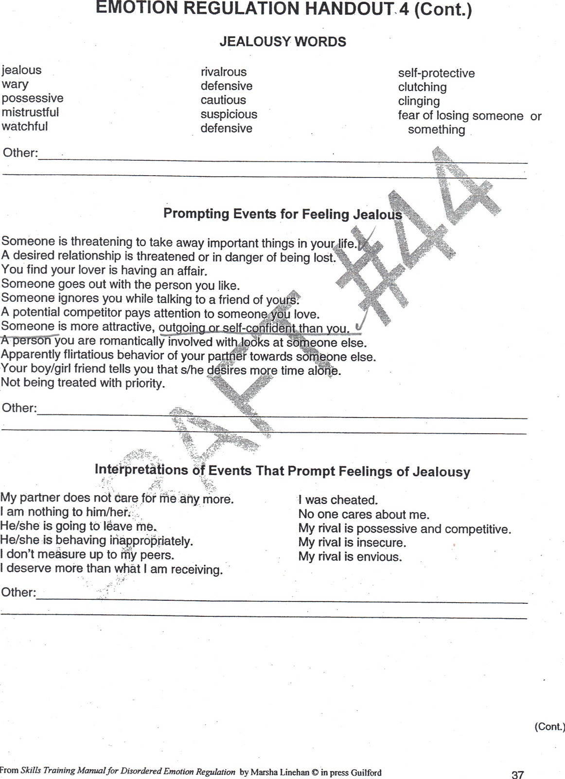Healing From BPD Borderline Personality Disorder Blog Jealousy – Emotional Regulation Worksheets