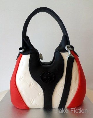 Cake Fiction Black and Red Gucci Handbag Cake