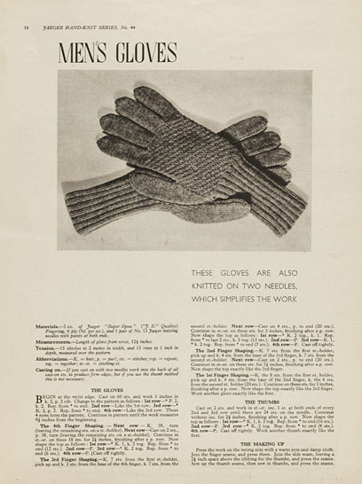 1940's Knitting - Mens Gloves