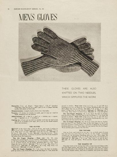 1940's Knitting - Mens Gloves