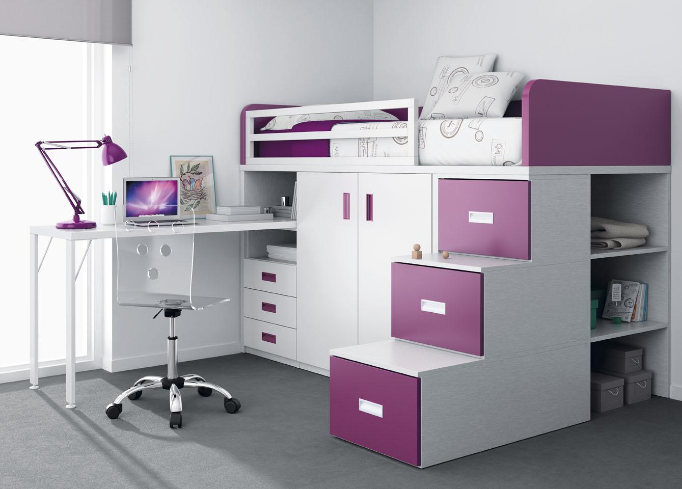 Literas muebles ros - Literas con escritorio debajo ...
