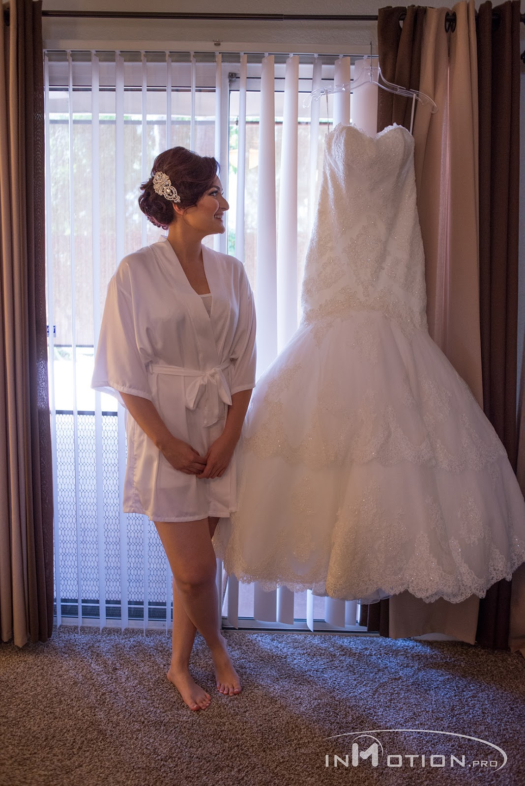 White Wedding Dress Bride Getting Ready Before The