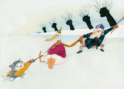 illustration of a goose and a dog saving a cat from an ice hole by robert wagt