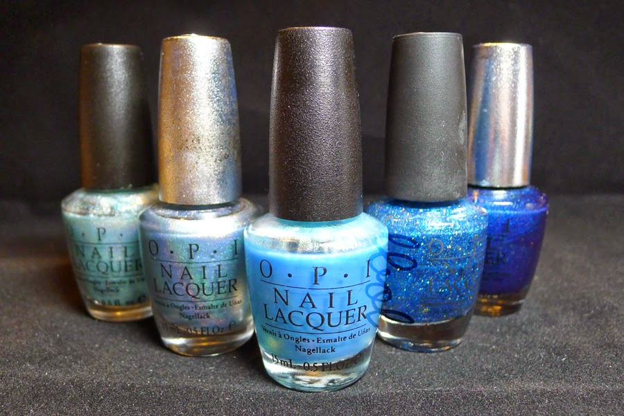 OPI Blue Moon Lagoon, DS Sapphire, Sonic Bloom, Absolutely Alice and DS Fantasy