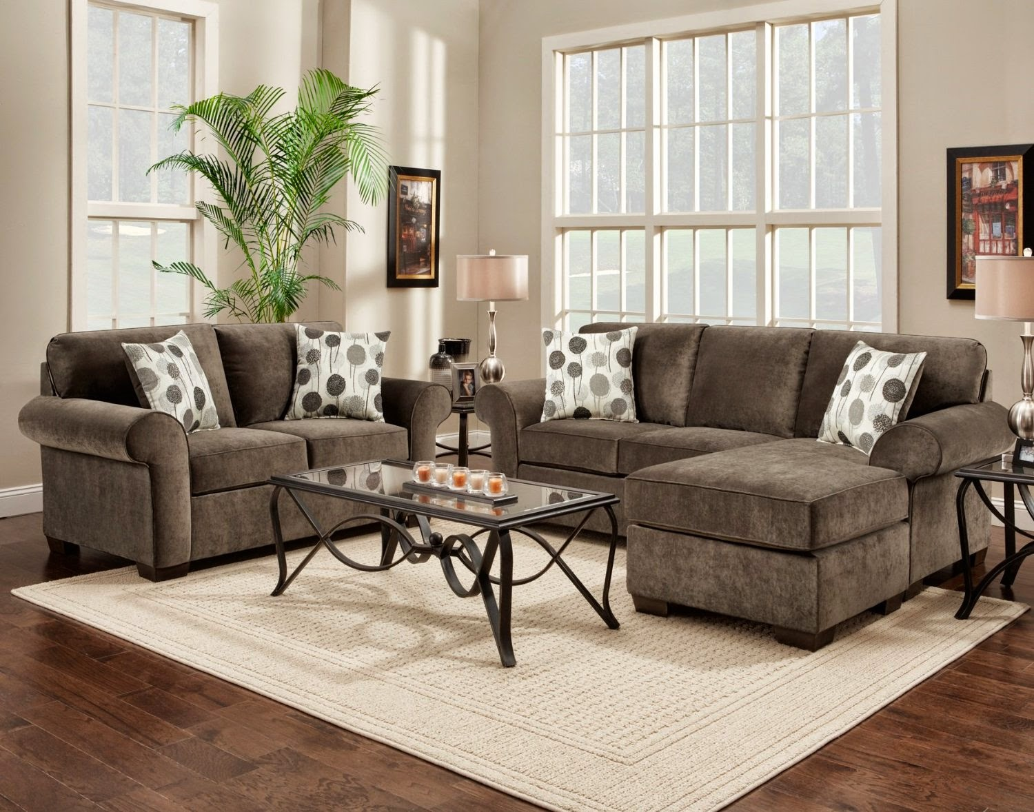 Roundhill Furniture Fabric Sectional Sofa and Loveseat Set with Pillows, Elizabeth Ash
