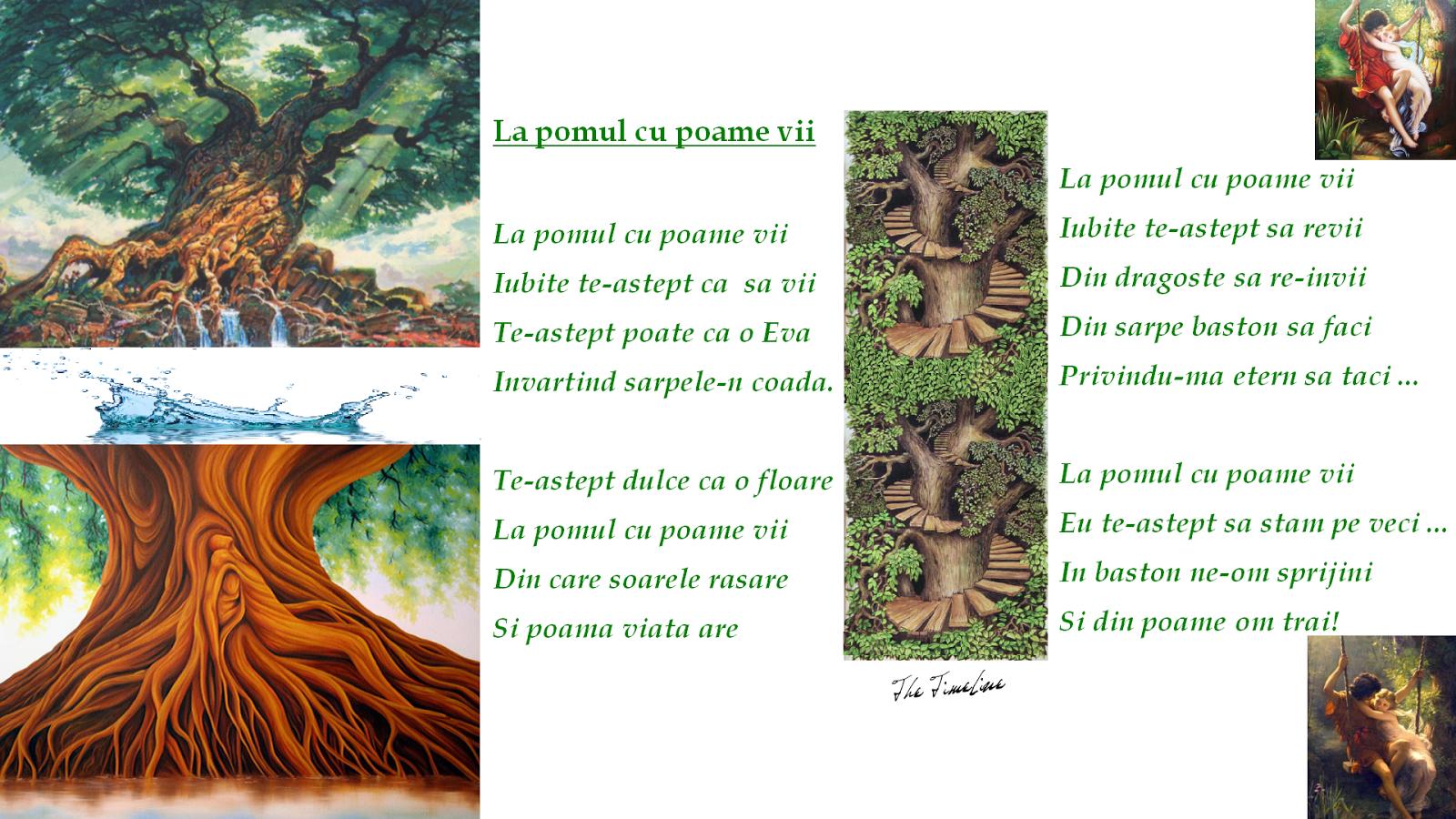 la pomul cu poame vii poezie dragoste Eva intelepciune cunoastere iubire Adam biblie intelepciune etern
