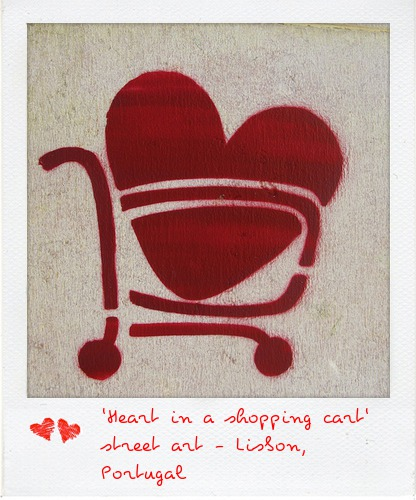 Heart in a Shopping Cart - Lisbon Street Art