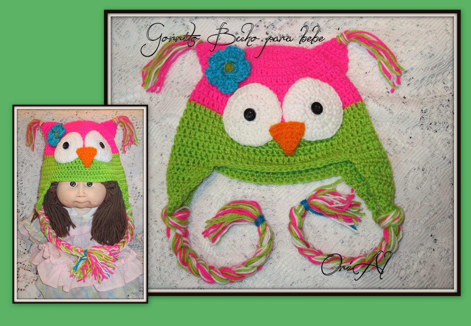 Gorros tejidos a Crochet. Buhos