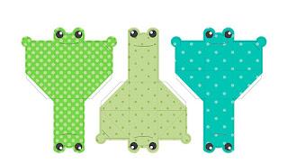 Plantillas de diseño de 3 cajitas regalo de ranas con fondo de color y lunares. Hecho con Illustrator