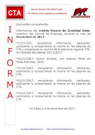 C.T.A. INFORMA CRÉDITO HORARIO CRISTOBAL NIETO, NOVIEMBRE 2017