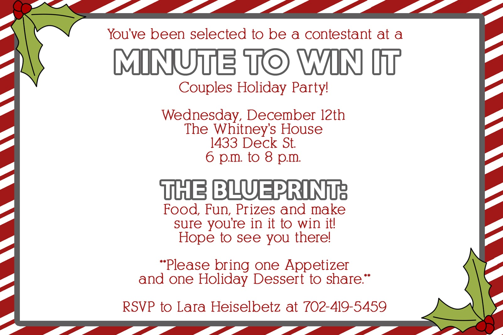 how to make minute to win it invitations