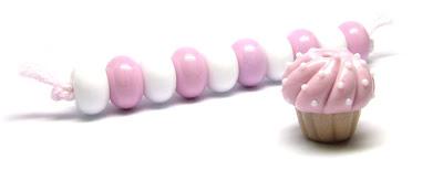 Lampwork cupcake bead set