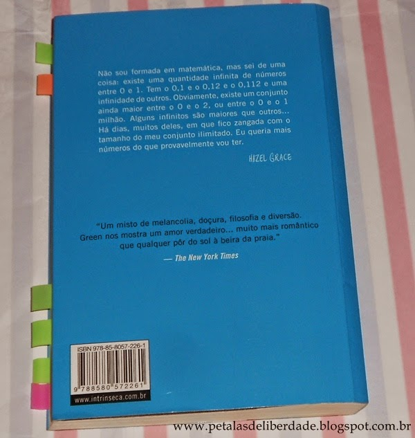 Contracapa do livro A Culpa é das Estrelas John Green Intrínseca, sinopse, resumo, resenha, comprar, pdf