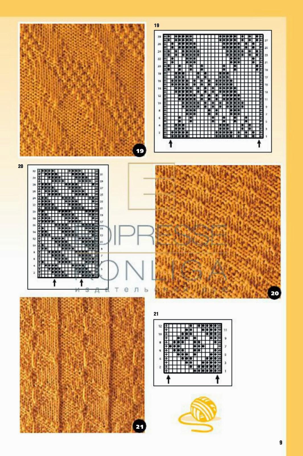 Простые узоры для вязания спицами из лицевых и изнаночных петель (подборка) 68