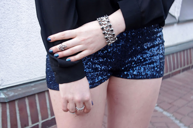 Steve Madden, H&M sequined shorts,