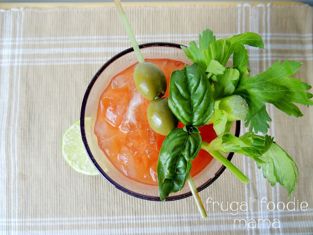 Basil & Garlic Bloody Mary \ Frugal Foodie Mama for White Lights on Wednesday