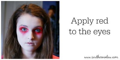 Apply Red to the Eyes - Zombie Makeup Tutorial Halloween Face Painting