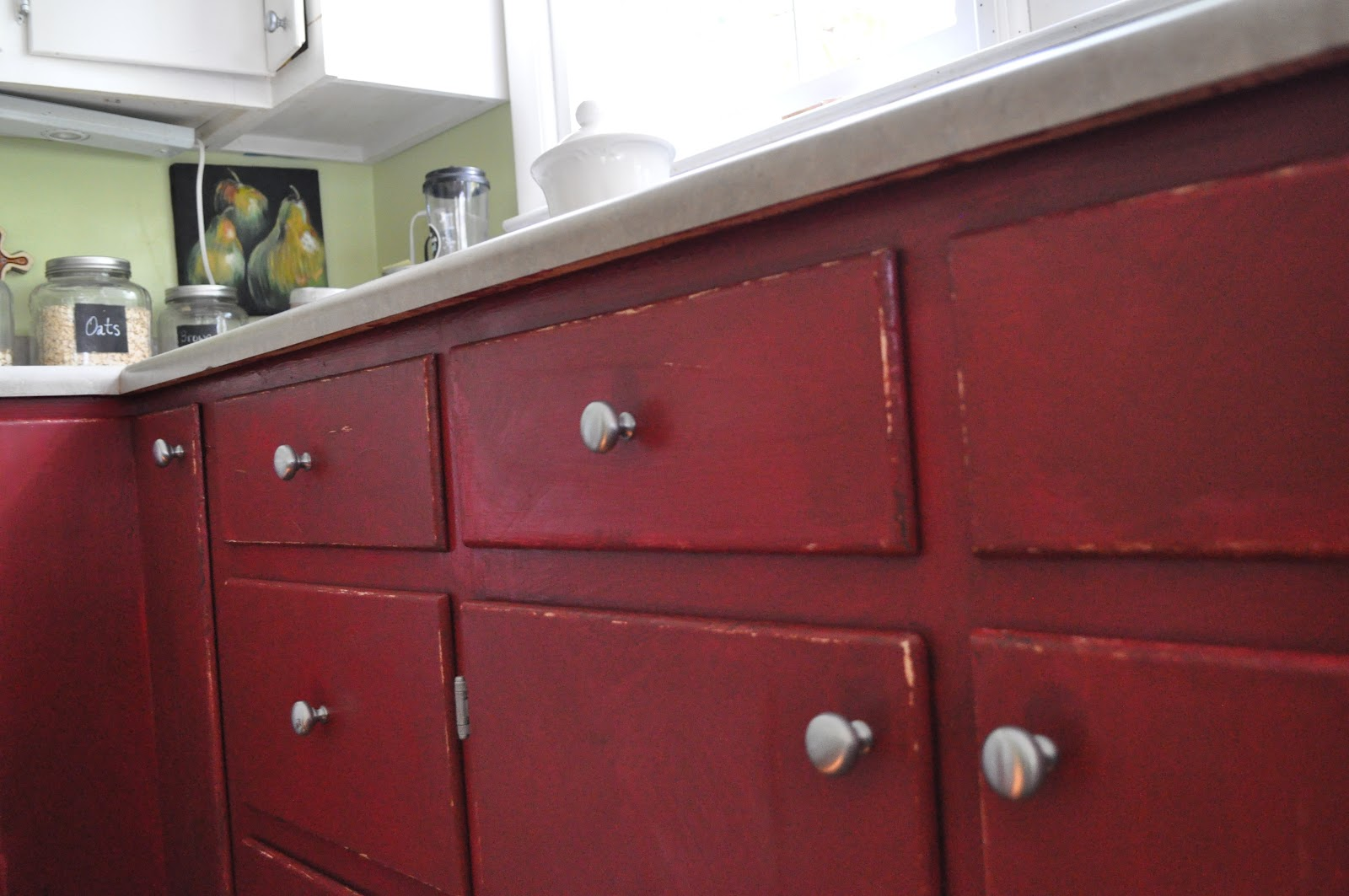 Distressed red kitchen cabinets distressed cabinets topped