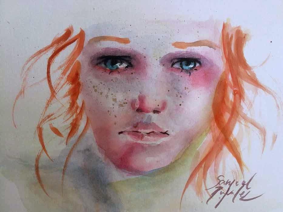 retrato de niña pelirroja