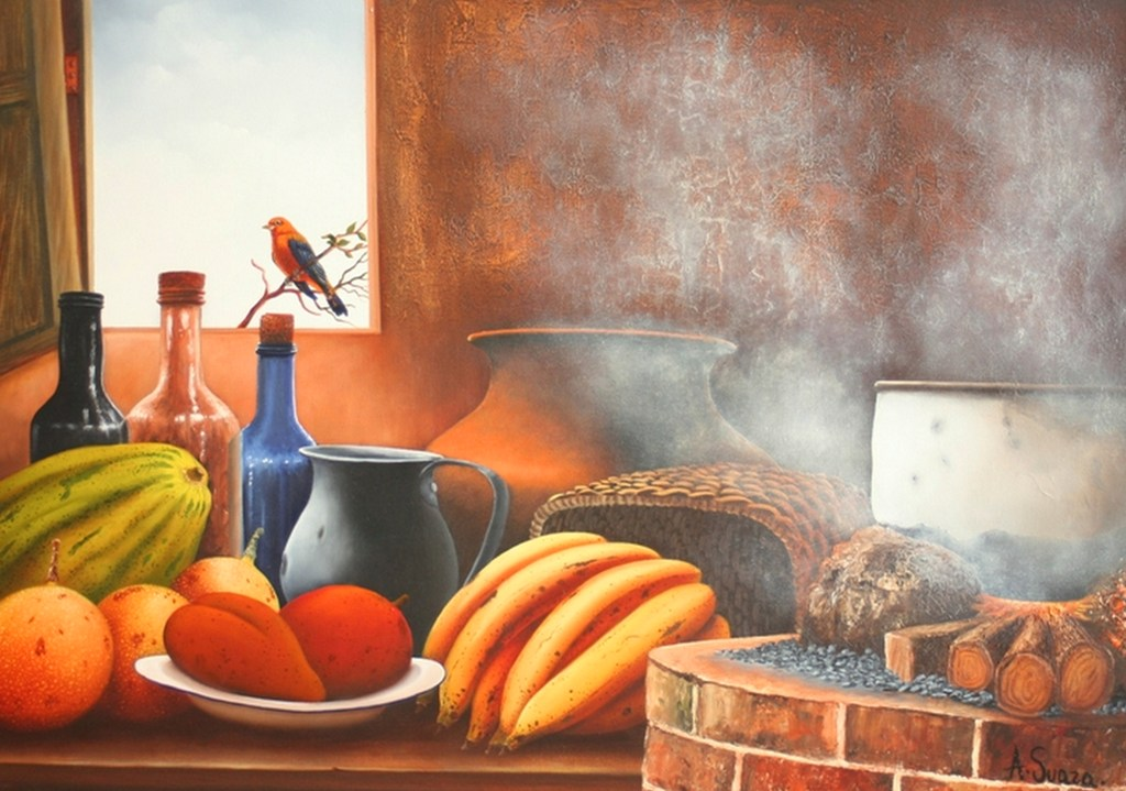 Pinturas cuadros lienzos pinturas al leo de bodegones for Elementos de cocina bogota