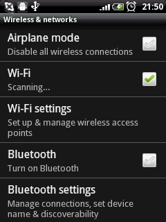 launch android wirless and networks seting