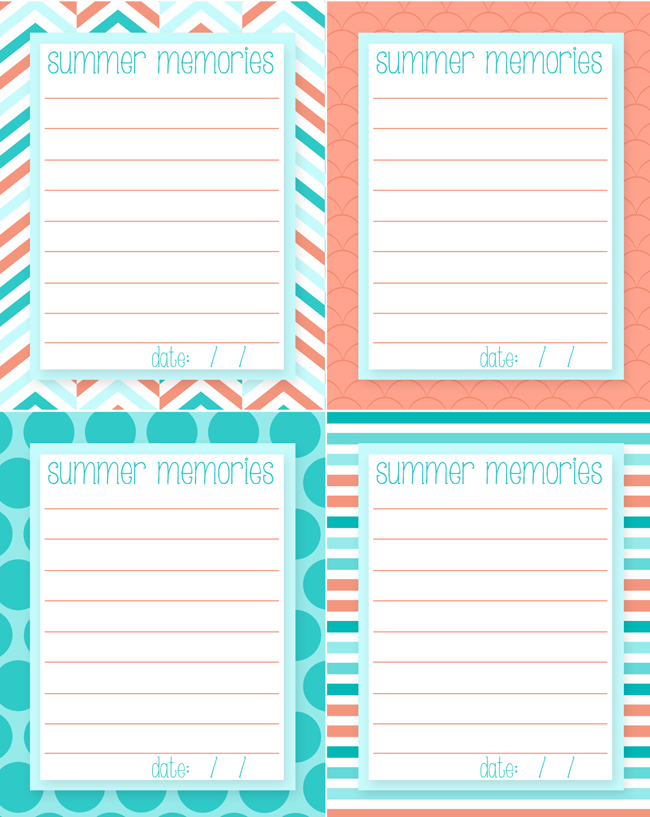 Free Printable Summer Memory Journal Cards | The perfect activity for kids (and adults) to jot down all of their favorite memories of the summer. | Instant  Download
