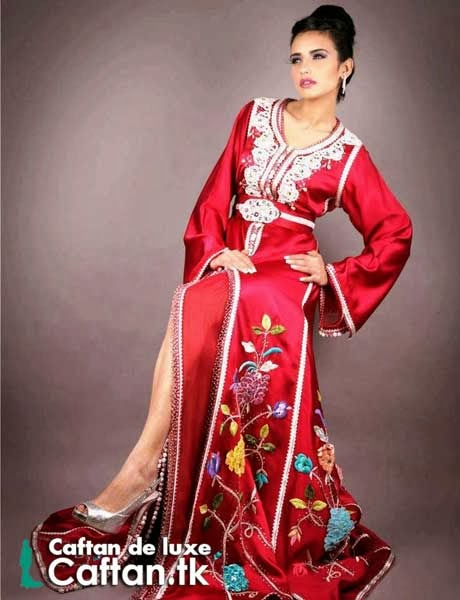 Caftan marocain rouge haute gamme 2014
