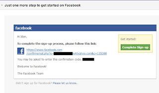 פייסבוק אישור הרשמה