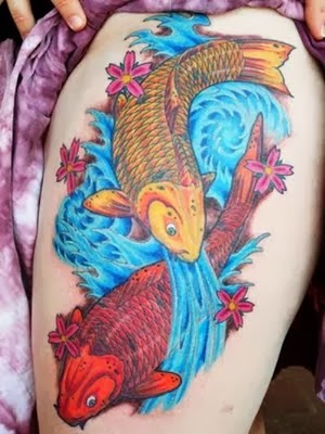 Beautiful Koi Tattoo Design On Thigh