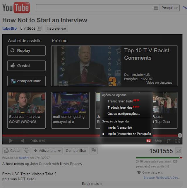 Tradução do YouTube CC sistema que traduz voz em legendas ou texto