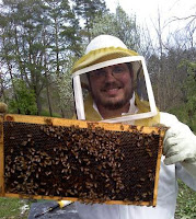 Patrick seen here with a hive and bees