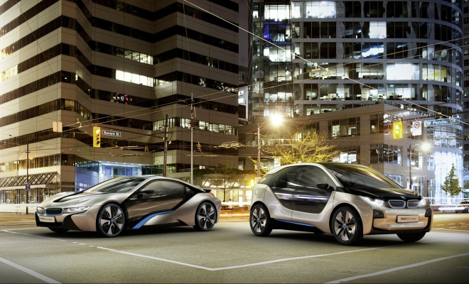 Computer generated image of BMW i3 and i8
