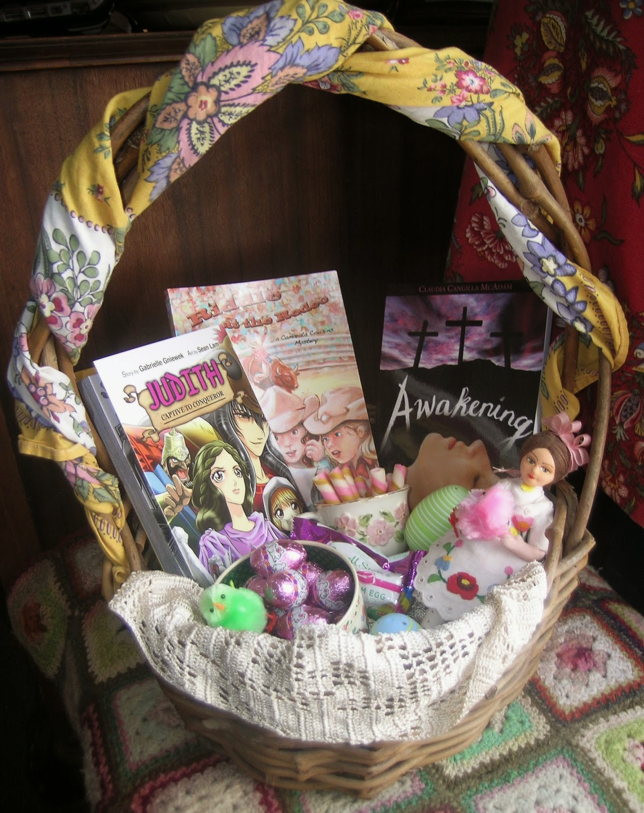 Easter basket tour tween girls chestertonpress tween girls instead of easter ribbons twine a new spring kerchief around the baskets handle line it with a lace scarf and organize treats with fun and negle Images