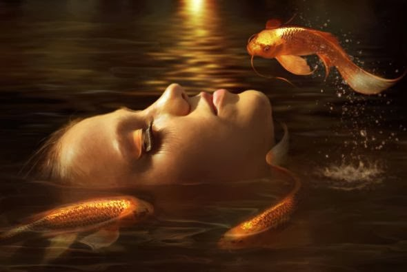 Elena Dudina deviantart art photomanipulation photoshop fantasy surreal dark women beautiful Golden fishes
